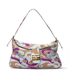 58c741626a2f This is an authentic Fendi bag. Made from tan fuschia and light blue  watercolor swirl patterned fabric this bag features gold-toned hardware and  tan leather ...