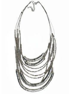 "JousJous Silver Layers Handmade Necklace, 24"" Long JousJous #necklance #gifts"