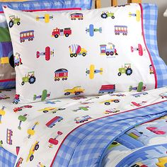 trains, planes and automobiles twin sheet set - by Olive Kids - a little less than the Ryder sheet set at Pottery Barn Kids