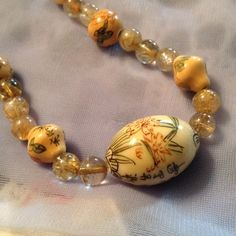 "Asian style necklace 20"" necklace glass, wood beads  and wood focal bead handmade Jewelry Necklaces"