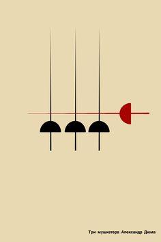 """Курс """"Проектная концептуалистика"""", задание: постер к произведению в эстетике minimal. """"Три мушкетёра"""""""