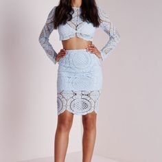 Missguided pale blue crochet set Never worn before, still has tags attached! Beautiful two piece in a size 2. Brand new! Us size 2 uk size 6 Missguided Skirts Midi