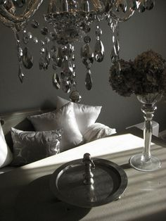 Wood dining table, chandelier