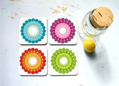 retro color-circles coasters from ArtisEverything on etsy, four for $19