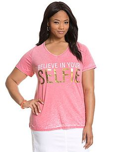 """Foil-embellished graphic tee keeps it positive with a """"Believe in Your Selfie"""" graphic. Soft burnout tee features a flattering V-neck and short sleeves. lanebryant.com"""