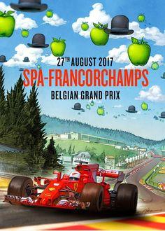 Ferrari poster van Grand Prix in België