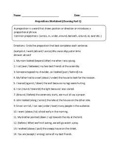 Choosing Prepositions Worksheet