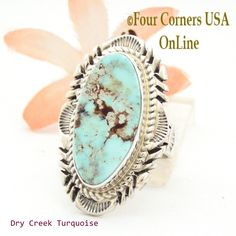 Four Corners USA Online - Size 7 3/4 Dry Creek Turquoise Large Stone Ring Navajo Artisan Thomas Francisco NAR-1709, $233.00 (http://stores.fourcornersusaonline.com/size-7-3-4-dry-creek-turquoise-large-stone-ring-navajo-artisan-thomas-francisco-nar-1709/)