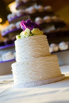 purple and ivory wedding cake and cupcakes  Venue: Alvamar Country Club Photography: Chris Bendet Photography