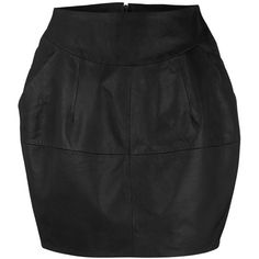 Black Leather Barrel Skirt (21.195 HUF) ❤ liked on Polyvore featuring skirts, black, women's clothing, dorothy perkins skirts, leather skirt, genuine leather skirt, real leather skirt and knee length leather skirt