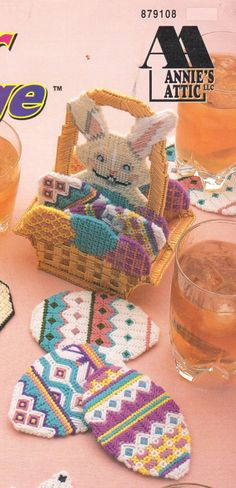 Easter Basket Coaster Holder and Coasters in Plastic Canvas by HappyStitchingFinds on Etsy