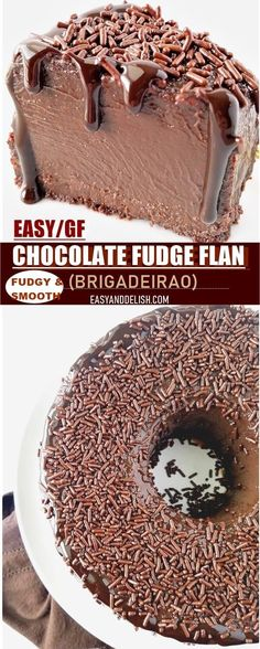 Brigadeirao (Brazilian Chocolate Fudge Flan) Brigadeirao is an easy family-size chocolate fudge flan made in the blender and baked in 40 minutes. It's gluten-free, rich, fudgy, and addicting! Easy No Bake Desserts, Köstliche Desserts, Gluten Free Desserts, Great Desserts, Delicious Desserts, Chocolate Flan, Chocolate Desserts, Dessert Party, Baking Recipes