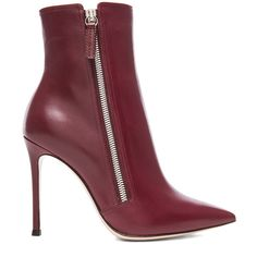 Shop for Gianvito Rossi Pointed Leather Ankle Leather Boots in Burgundy at FWRD. Free 2 day shipping and returns.