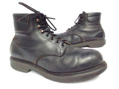Vtg RED WING Black Leather STEEL TOE Hunting Work Boots MEN 10 3E MOTORCYCLE #RedWing #Motorcycle
