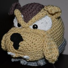 Buster the Bulldog Hat ALL SIZES ~ free pattern ᛡ