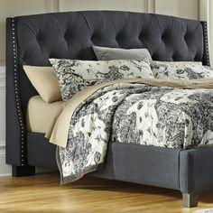 Grey Tufted Bed Frame King