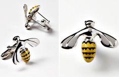 Jan Leslie Sterling & Enamel Bee Cufflinks