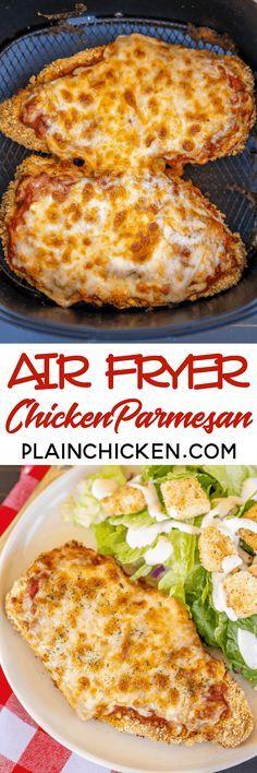 air fryer recipes: Air Fryer Chicken Parmesan - all the flavor and no. Air Fryer Oven Recipes, Air Frier Recipes, Air Fryer Dinner Recipes, Parmesan, Air Fried Food, Yum Yum Chicken, Cooker Recipes, Chicken Recipes, Mozzarella