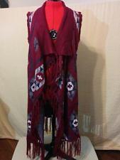 BUY IT NOW! Long Sweater Vest Shawl Front Fringe Southwestern Print New Directions Burgundy   | eBay