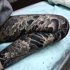 Japanese leg sleeve tattoo by @nami_chang.  #underratedink #japanesetattoo #irezumi #tebori #blackandgrey #blackandgreytattoo #cooltattoo #legtattoo #largetattoo #tattoosleeve #flowertattoo #wavetattoo #naturetattoo @japanesecollective @japanesetattoo @reclaimthedots @bestirezumi