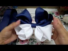 Amazing Ribbon Bow - Hand Embroidery Works - Ribbon Tricks & Easy Making Tutorial - Free Online Videos Best Movies TV shows - Faceclips Ribbon Hair Bows, Diy Hair Bows, Diy Bow, Diy Ribbon, Bow Hair Clips, Ribbon Crafts, Hair Bow Tutorial, Flower Tutorial, Boutique Hair Bows