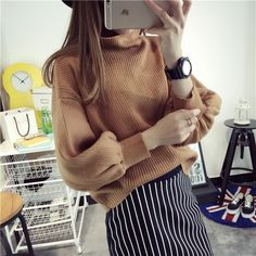 Cheap sweater knitwear, Buy Quality sweater intarsia directly from China sweater tights Suppliers: Korean Style Vintage Pullover Sweater for Women Turtle Neck Multicolor Casual Sweater and Pullovers Mixed Color Knitt
