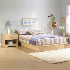 South Shore Copley Platform Bed Frame Only in Natural Maple - 301323X