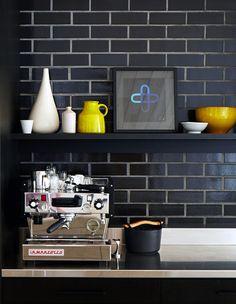Kitchen detail, Rachel Castle felt artwork, vintage ceramics. Photo -Sean Fennessy, production – Lucy Feagins / The Design Files.