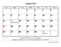 Printable Calendar 2014 October Templates