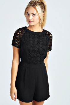 $44, Black Lace Playsuit: Boohoo Julie Crochet Insert Short Sleeve Playsuit. Sold by BooHoo. Click for more info: https://lookastic.com/women/shop_items/126691/redirect