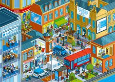 Barclays Real Retail Project - isometric pixel art city illustration by Rod Hunt by Rod Hunt Illustration, via Flickr
