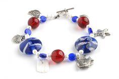 Bransoletka marynarska – bali, lampwork, perły szklane, szkło - seaside lampwork glass beads bracelet http://corallia.pl/bransoletki/bransoletka-marynarska-bali-lampwork-perly-szklane-szklo.html#.VNn40S7Hg2g