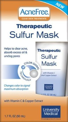 Acnefree Therapeutic Sulfur Mask, 1.7-Ounce (Pack of 2) by AcneFree. $15.97. Leaves skin with a refreshed healthy glow. Sulfur is a proven natural and effective acne treatment. Helps minimize the appearance of pores with refined skin tone and texture. Deep penetrating pore therapy helps soothe acne-inflamed skin and absorb the excess oils that attract acne causing bacteria.  A minty cool, refreshing tingle let you feel it working