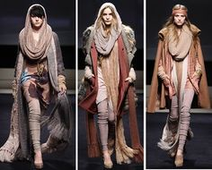 Complex Layered Clothing-Different shades of the same color in different amount of clothing to illustrate layers. This is awsome! The ensamble on the LEFT is my fav.  What about you????