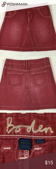 Biden red A-line denim skirt US size 8 Boden red A-line denim skirt,  US size 8, UK size 12R. 100% cotton. Waist measures 31 inches. Length is 17 incbes. Skirts A-Line or Full