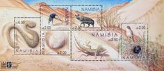 Namib Dunes Stamp Sheet with phosphorescent overlay of tracks, designed by artist Mary Jane Volkmann and featured at the International Stamp Show, London