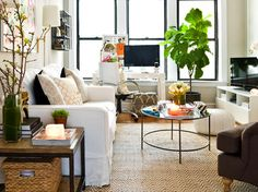 Combined office & living space. Definitely need to add a fig tree to my own living room. eclectic living room by Cynthia Lynn Photography