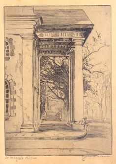 Etching, St. Michael's Portico, by Elizabeth O'Neill Verner. Charleston Museum