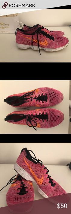 a871dbf79f98 Nike Sneakers Hot PInk with Orange Swoosh Size 9 Barely there