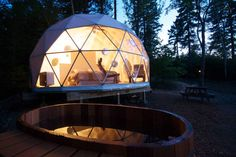Easy Install Glamping Resort Geodesic Dome Tent With Metal Door , Find Complete . Pod Tents, Unusual Hotels, Infinity Pool, New Brunswick Canada, Dome Tent, Dome House, Camping Places, Geodesic Dome, Bungee Jumping