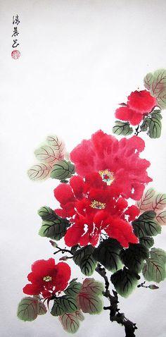 Купить Раннее утро. Красные пионы - елена касьяненко, китайская живопись, пионы, картина в подарок