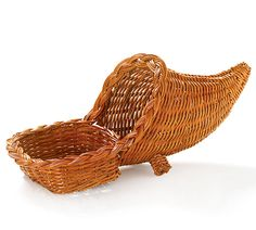 "#burtonandburton Fern Cornucopia Basket in a light brown stain with a basket on front.  Includes PVC liner.<br>6""H X 12""W X 6""D. Opening: 2""H X 5""W X 5""D. Opening: 4 1/2""Diameter.  Set of 4.<Br>"