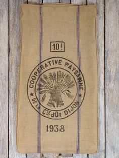 Burlap GRAIN SACK Flour Bag wheat sheaf  1938. $120.00