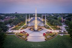 Dallas Temple Tremendous Significance - Twilight at the Dallas Texas Temple as seen from above. Aerial Photography, Landscape Photography, Dallas, Lds Temple Pictures, Beautiful Places, Beautiful Pictures, Frozen In Time, Lds Temples