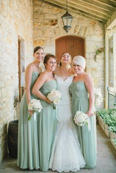 bridesmaids in minty green Photography: Delbarr Moradi Photography - delbarrmoradi.com  Read More: http://www.stylemepretty.com/2014/04/17/pastel-colored-holman-ranch-affair/
