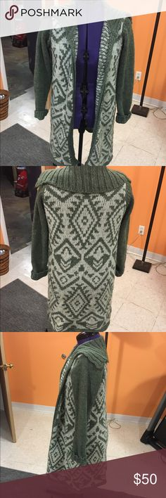Long tribal cardigan Olive green and white tribal cardigan. Great condition. Only worn a couple times. Brand is Moth from Anthropology. Moth Sweaters Cardigans