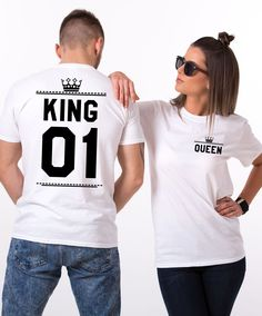 King Queen 01 Crowns, Double Sided, Matching Couples Shirts. A perfect match for royal couples! Get set of matching shirts now!