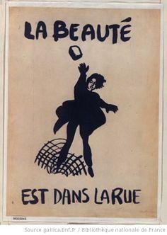 T-SHIRT H sérigraphié LA BEAUTÉ EST DANS LA RUE affiche MAI 68 poster may 1968
