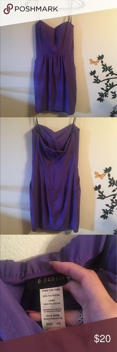Purple strapless cocktail dress NWOT NEVER WORN Strapless purple dress with pockets and sipper in the back size 1-2 Dresses Strapless
