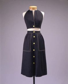 A 1944 Claire McCardell ensemble consisting of a halter top and a skirt with wonderfully large pockets.